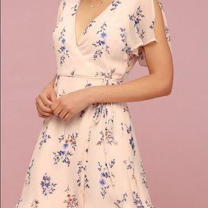 Flower Blush Pink Floral Print Wrap Dress